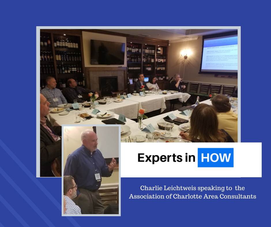 Charlie Leichtweis speaks to the Association of Charlotte Area Consultants
